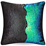 """Where to Buy Emoji Bedding URSKYTOUS Reversible Sequin Pillow Case Decorative Mermaid Pillow Cover Color Changing Cushion Throw Pillowcase 16"""" x 16"""",Fancy Green and Black"""