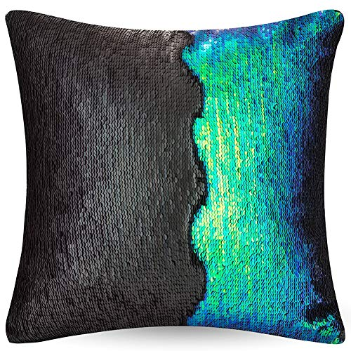 "- URSKYTOUS Reversible Sequin Pillow Case Decorative Mermaid Pillow Cover Color Changing Cushion Throw Pillowcase 16"" x 16"",Fancy Green and Black"