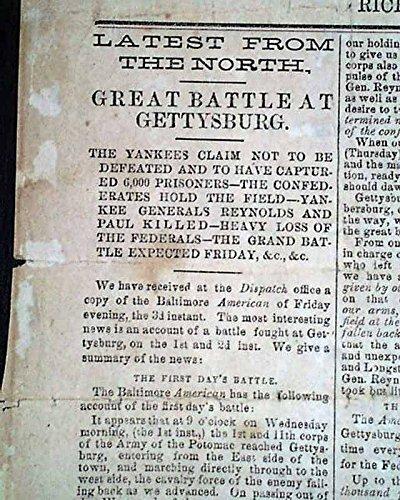 VERY Rare CONFEDERATE Richmond Va BATTLE OF GETTYSBURG 1863 Civil War BROADSIDE 1863 Civil War Newspaper