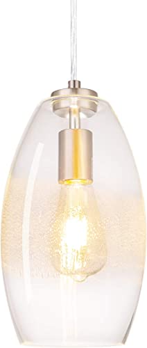 NALATI 1-Light Bell Pendant Art Clear Seeded Glass Hanging Light with Brushed Nickel Finish for Kitchen Island