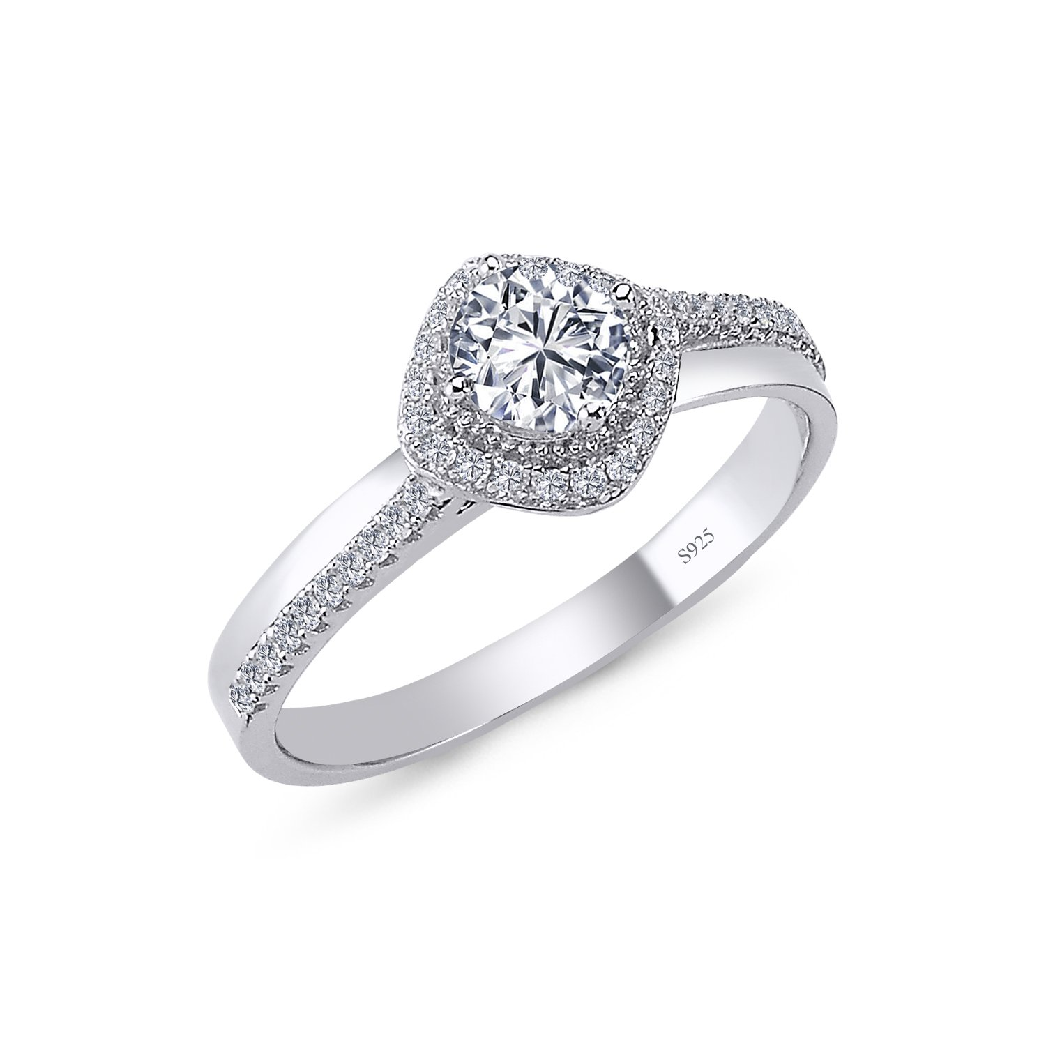 925 Solid Sterling Silver 9MM Cushion Halo AAAAA+ Gem Grade Quality ROUND BRILLIANT Cut Total 1.00 CARAT Bridal Sets Anniversary Promise Engagement Wedding CZ Ring Comfort Fit and Rhodium Plated