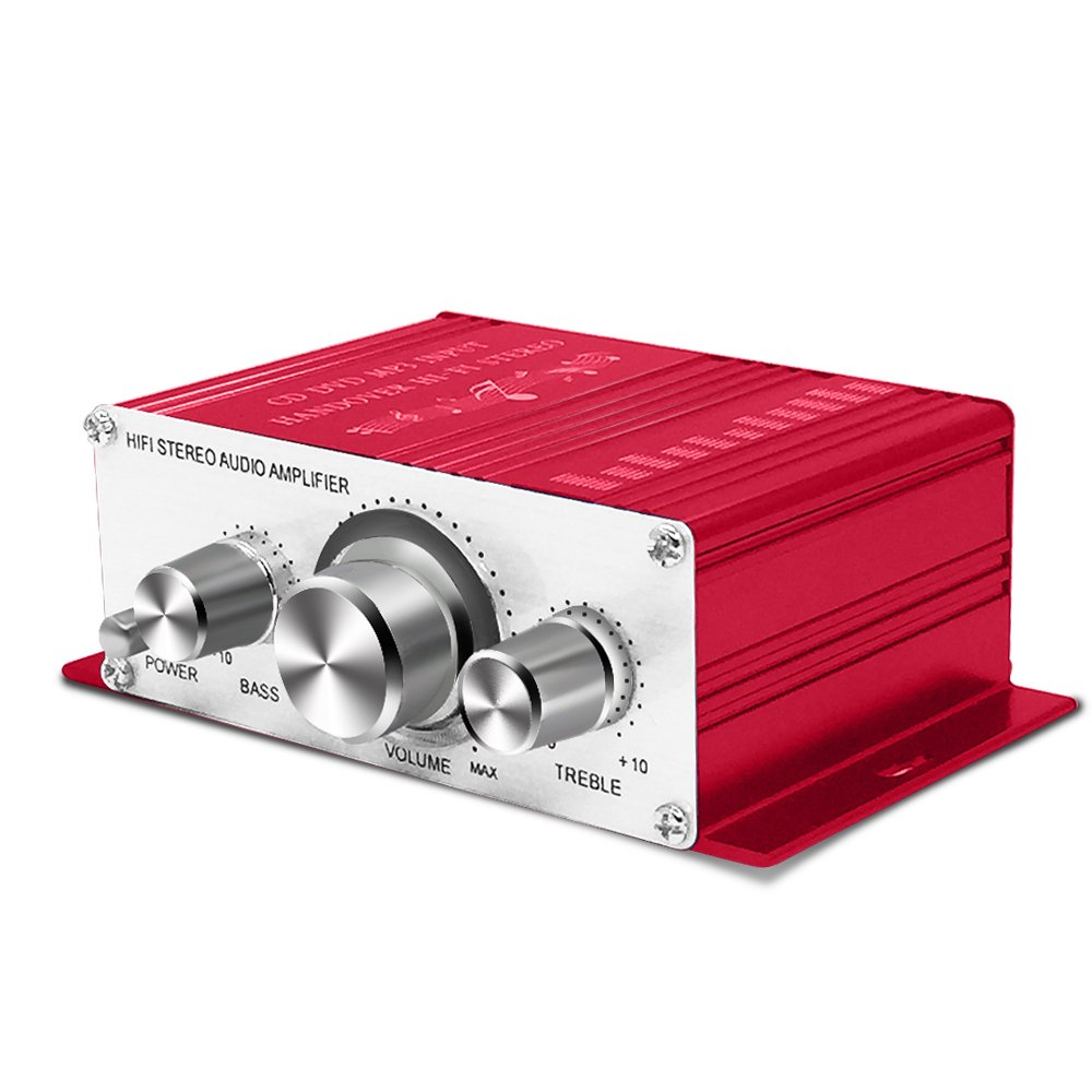 Tsumbay Mini Amplifier 12V Hi-Fi Stereo Audio Amplifier Digital Power Amplifier Audio Music Player for Auto Car/Boat/Motorcycle/Home Theater/Speakers, CD/DVD/MP3 Supported (Red)