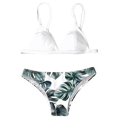Oyedens 2018 Été Bikini Taille Haute Femme 2 Pièces Maillot de Bain 2 Pièces  Feuilles imprimées b0def8a429de