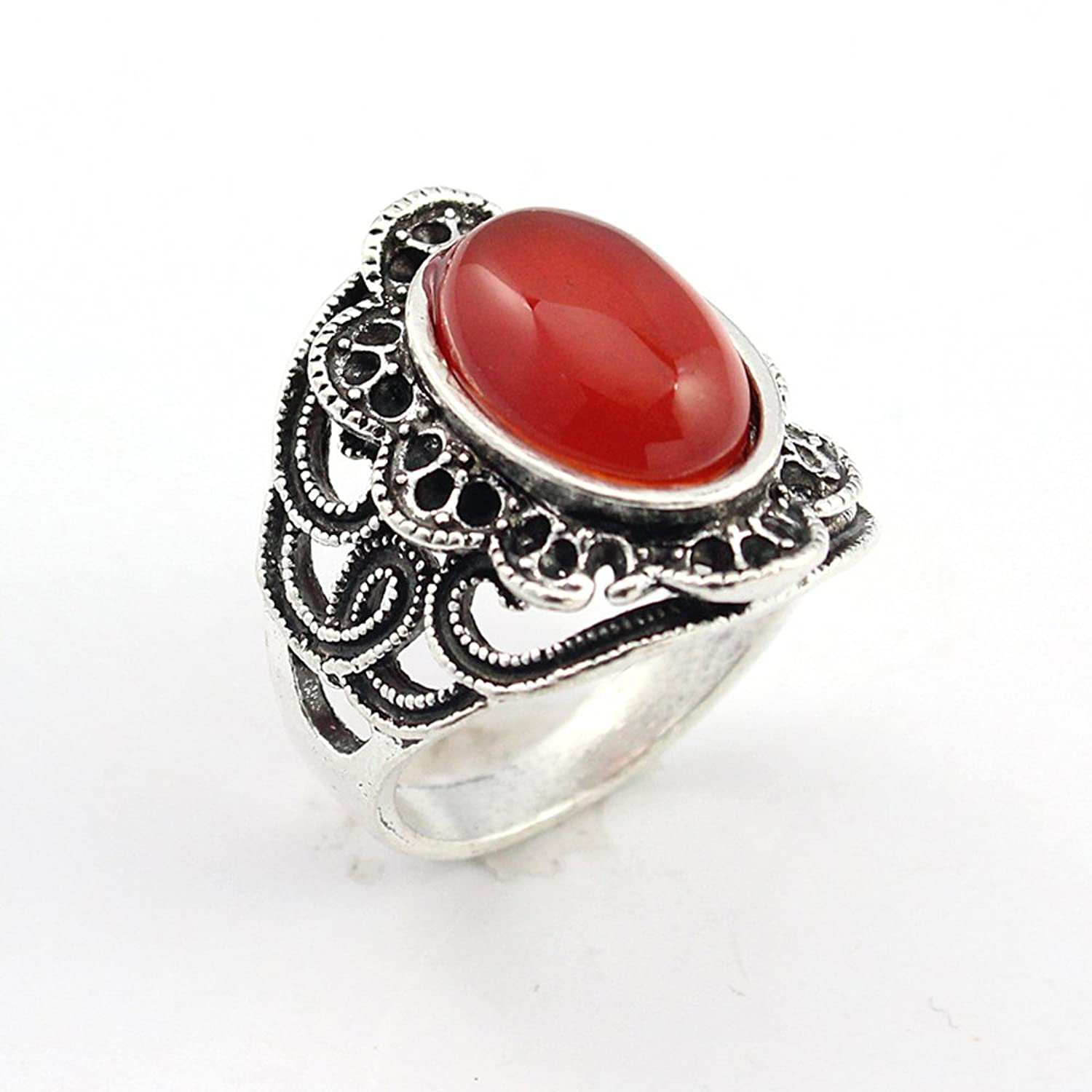 BEST QUALITY CARNELLIAN FASHION JEWELRY .925 SILVER PLATED RING 11 S22708
