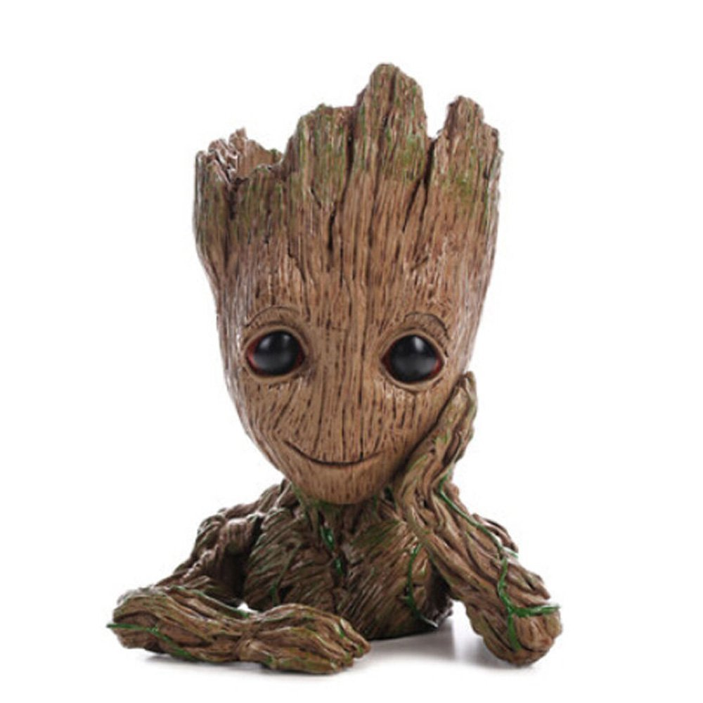 Groot Action Figures Fashion Guardians of The Galaxy Flowerpot Baby Cute Model Toy Pen Pot Best Christmas Gifts For Kids (Thinking tree)