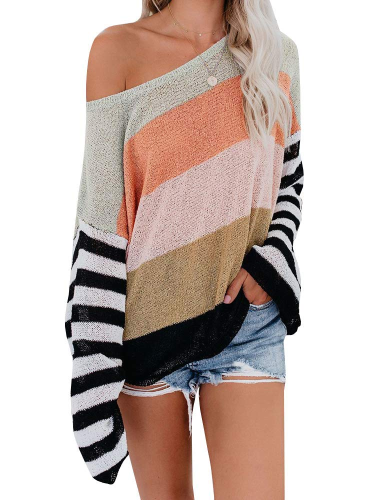 ETCYY NEW Womens Oversized Pullover Sweater Colorblock Rainbow Striped Casual Long Sleeve Loose Knitted Shirts Tops by ETCYY NEW