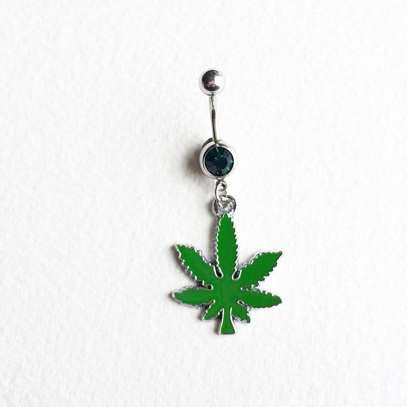 Vintage 1990s Silver Surgical Steel Rhinestone Black Enamel Marijuana Cannabis Pot Leaf Dangle Body Jewelry Belly Button Ring