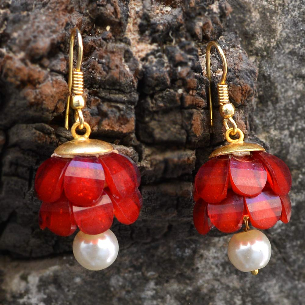 Silvestoo Jaipur Red Quartz /& Pearl Gold Plated Dangle Earring For Girls PG-131926