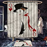 homecoco Queen mildew free Bathroom Accessory Set Retro Style Woman with Felt Hat Playing Card Design Poker Casino Ace Icon Gamble Fabric Bathroom Decor Set with Hooks Red Black Beige