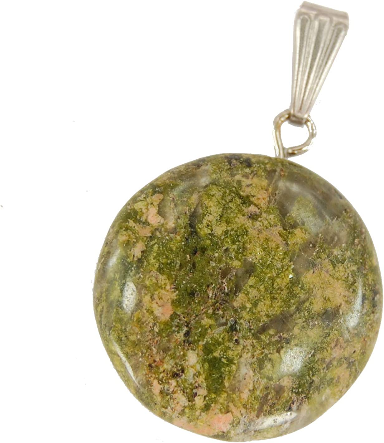 Steampunkers USA Celestial Collection Stainless Steel Bail 20mm Full Moon Disc Unakite Jasper Green- Pendant Only Tribal Ethnic Carved Necklace
