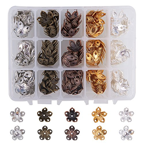 PH PandaHall 1 Box 200 PCS 5 Color Brass Filigree Flower Bead Caps Jewelry Findings Accessories for Bracelet Necklace Jewelry Making (Bead Caps Brass)