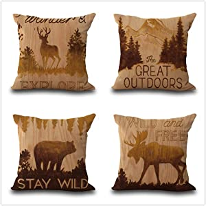 Alhwap Set of 4,Decorative Throw Pillow Covers,Retro Virgin Forest Wildlife Deer,Elk, Mountain,Black Bear,Buffalo,Tree,Western Tribal Style,Home Decor Cushion Couch Cover,Cotton Linen,18X18 Inch