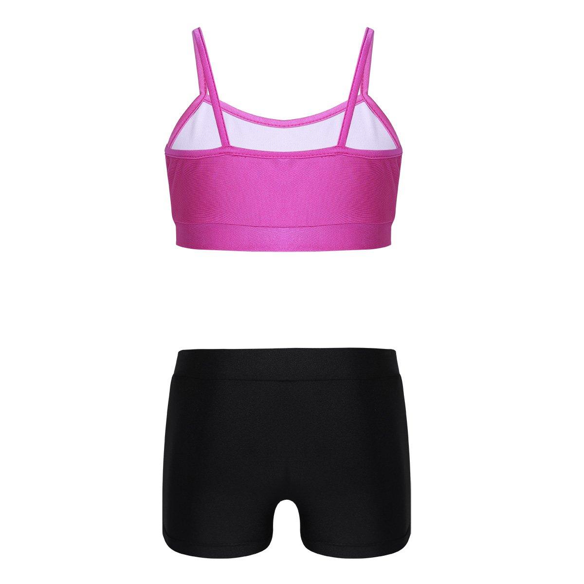 inlzdz Kids Girls Two Piece Tankini Ballet Dance Outfits Spaghetti Shoulder Straps Tops with Bottoms Set Dancewear