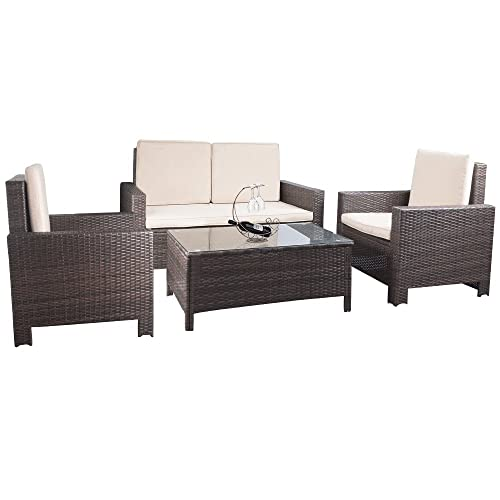 Devoko 4 Pieces Porch Patio Furniture Sets PE Rattan Wicker Garden Sofa Beige Cushion Chairs with Table Indoor Outdoor All Weather Deck Lawn Couch Brown
