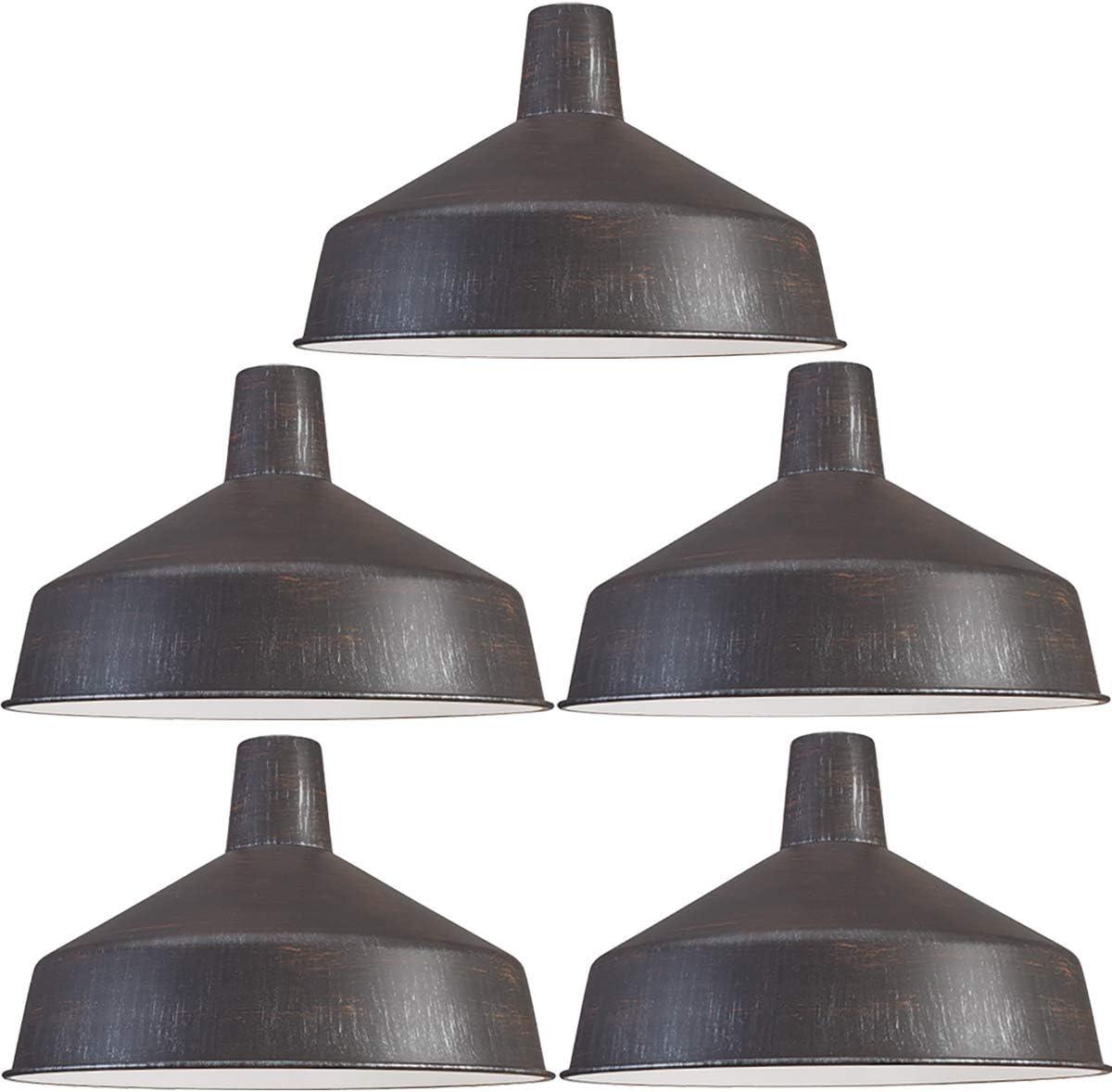 120V Commercial Grade Vintage Barn Style Pendant Light, 16 Shade Diameter Retro Bronze, 5-Pack