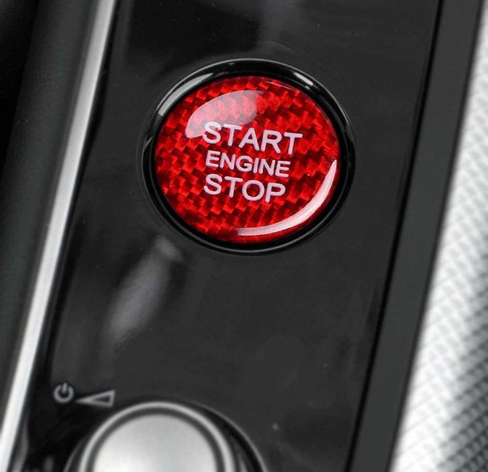1 Gloss Red Real Carbon Fiber Keyless Engine Start//Stop Push Start Button Cover Compatible With Audi A4 A5 A7 A8 Q3 Q5 Q7, etc. iJDMTOY