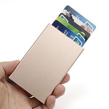 énorme réduction 42d42 456a4 Porte Cartes de crédit,RFID Blocage Portefeuille Porte-Cartes, Automatique  Pop-up,pour jusqu'à 6 Cartes(d'or