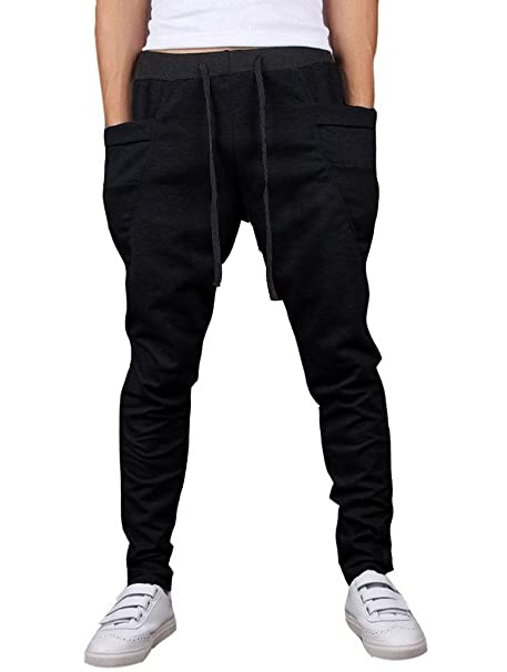 747540505 Men s Casual Cotton Elastic Waist Jogging Belt Pants Premium Joggers  Sweatpants S Black
