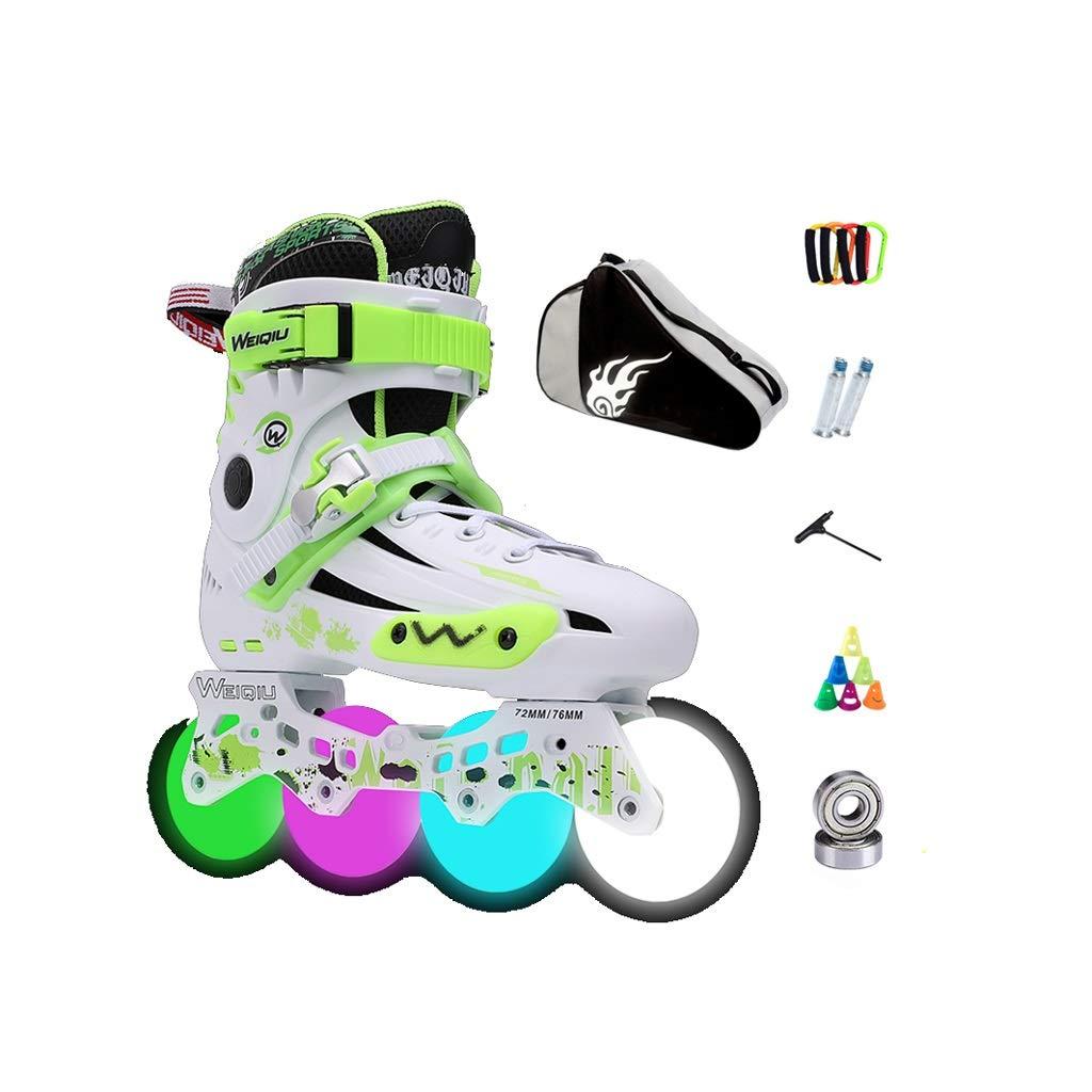 Ailj インラインスケート、 アダルト 単列スケート プロの男性と女性 スケート 子 フルフラッシュ ローラースケート フルセット(3色) (色 : Green, サイズ さいず : 40 EU/7.5 US/6.5 UK/25cm JP) B07NSHT5T6 44 EU/11 US/10 UK/27cm JP|Green Green 44 EU/11 US/10 UK/27cm JP