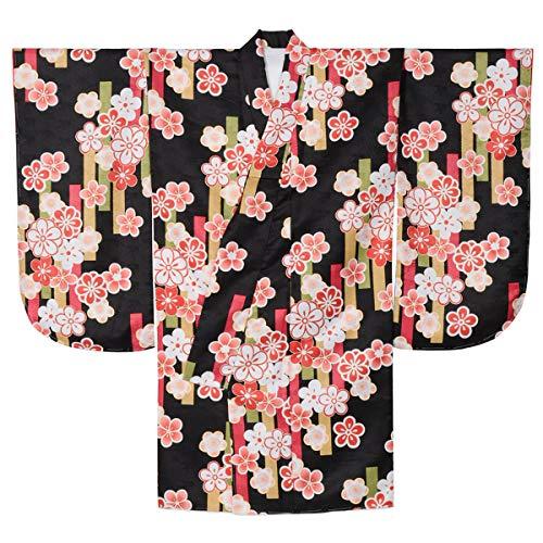 長老飼い慣らす項目二尺袖着物 ショート丈 小紋 桜 黒 裄68cm(1尺8寸) ポリエステル