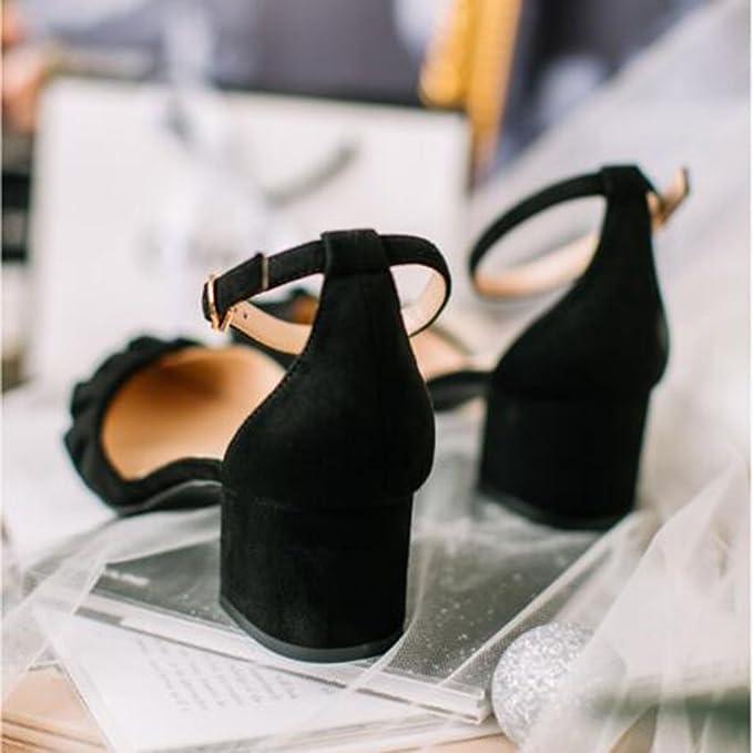 f75c7d2f MUMA Zapatos de tacón Sandalias Primavera Verano Temporada 2018 Nueva  Palabra Hebilla Con Zapatos Femeninos Acentuados Baotou Con Talón Con  Zapatos ...
