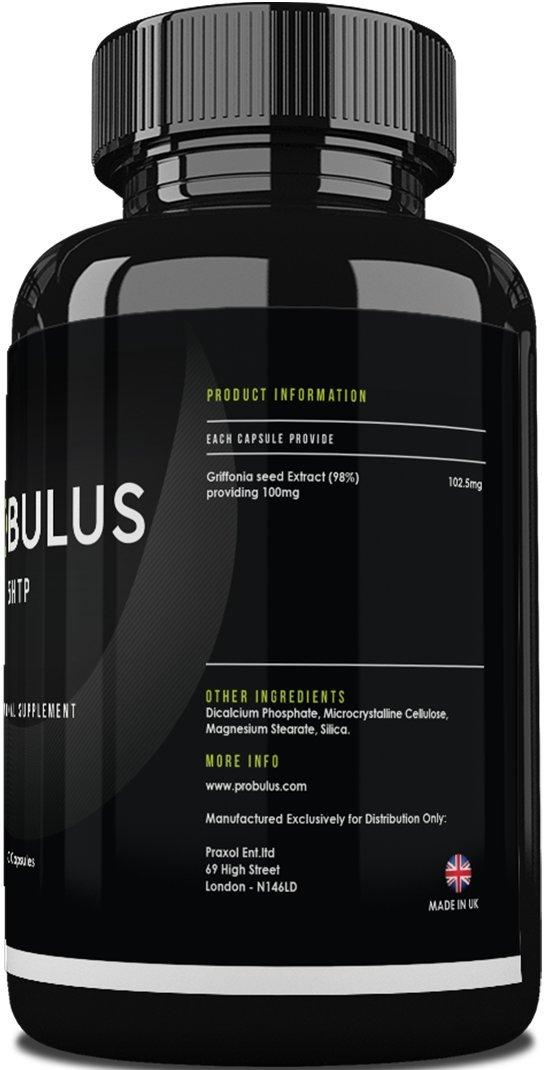 5HTP de Probulus- Extracto puro de GRIFFONIA en cápsulas 100% NATURALES. Disminuye la ANSIEDAD y el ESTRESS, aumenta la producción de SEROTONINA, ...