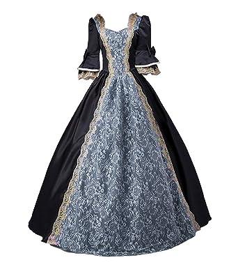 bc58434a073 Amazon.com  ROLECOS Womens Royal Retro Medieval Renaissance Dresses Lady  Satin Masquerade Dress  Clothing