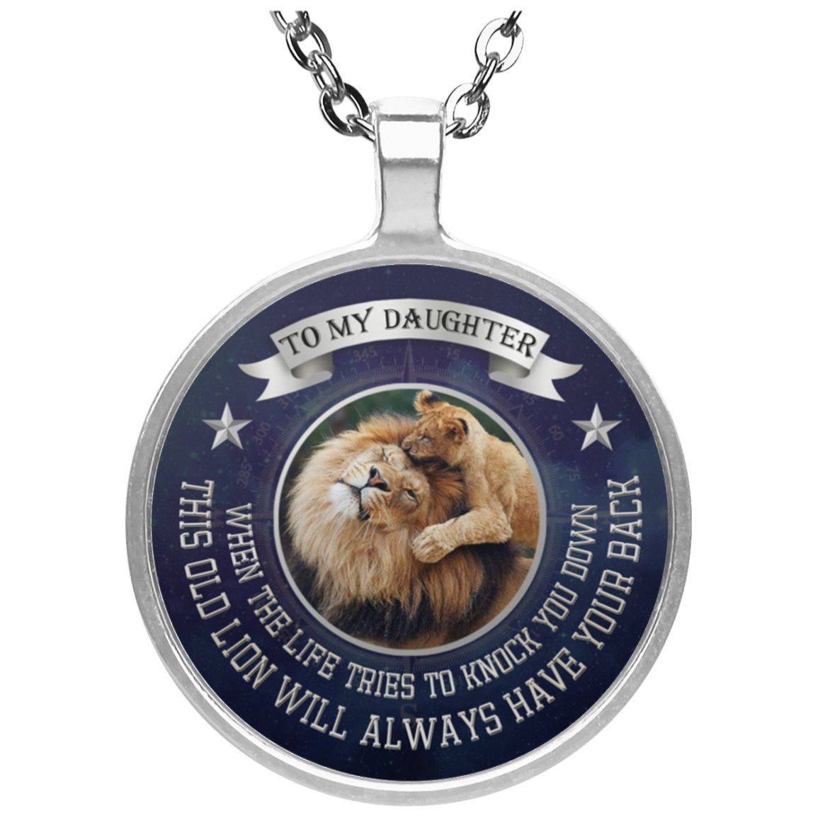 Personalized To My Daughter Necklace Jewelry Love Dad - This Old Lion Will Always Have Your Back - Happy Birthday Gift For Daughter from Father Silver Plated Pendant Chain 20 inch by AZ Gifts Plus (Image #1)