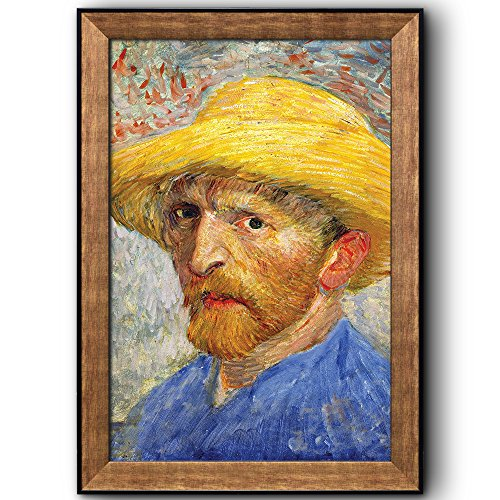 Self Portrait with a Straw Hat by Vincent Van Gogh Oil Painting Impressionist Artist Framed Art