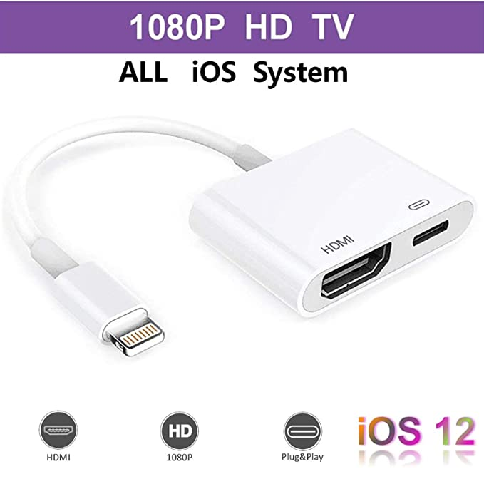 Pad and Pod Support iOS 11, iOS 12 Lighting Digital AV Adapter with Lighting Charging Port for HD TV Monitor Projector 1080P for Phone Lighting to HDMI Adapter