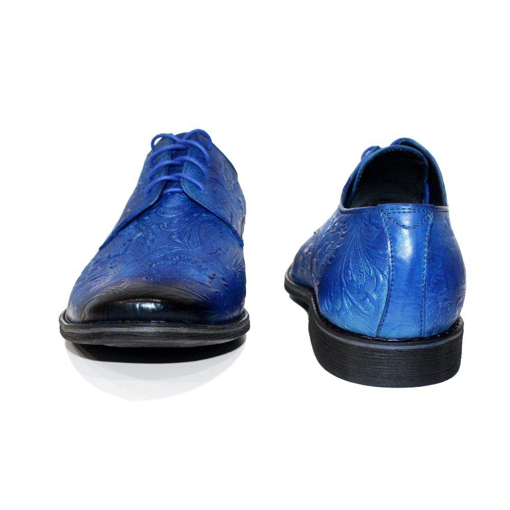 Modello Modello Modello Espressio - Cuero Italiano Hecho A Mano Hombre Piel Azul Zapatos Vestir Oxfords - Cuero Cuero Repujado - Encaje 31d6fb