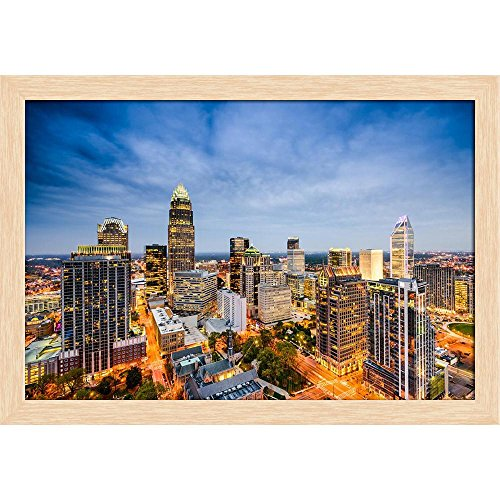 ArtzFolio Charlotte, North Carolina, USA Uptown City Skyline Canvas Painting Natural Brown Wood Frame 17 x 12inch -