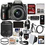 Pentax K-70 All Weather Wi-Fi Digital SLR Camera with 18-55mm AL WR & 55-300mm Lens + 64GB Card + Backpack + Flash + Battery + Tripod + Filters Kit