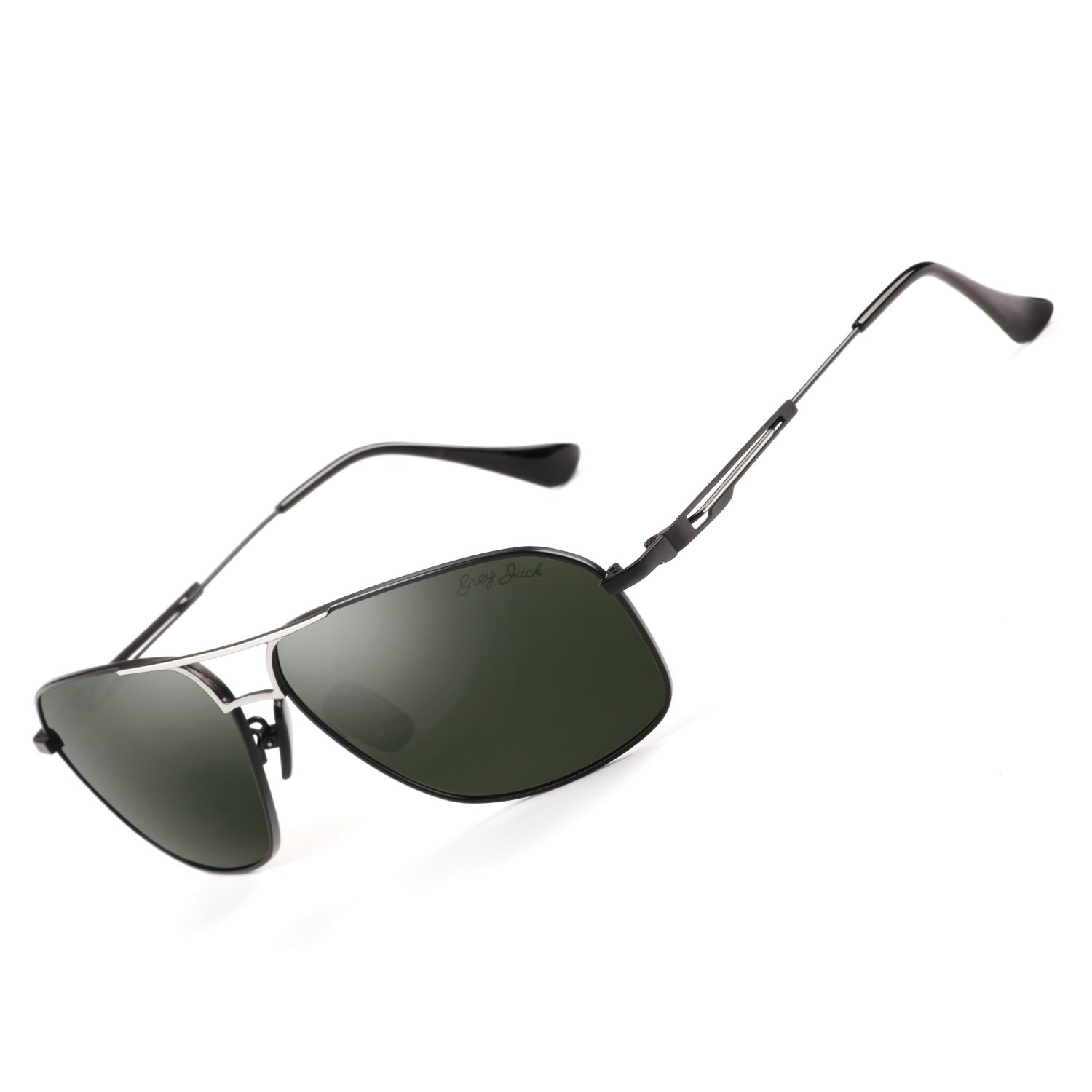 26005bbcd60 Amazon.com  GREY JACK Polarized Large Classic Aviator Sunglasses  Rectangular UV protection Lens for Men Women Black Frame Blackish green  Lens  Sports   ...