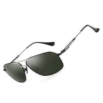 Gris Jack Classic Aviator Gafas de sol polarizadas rectangular UV lentes de protección para hombres -