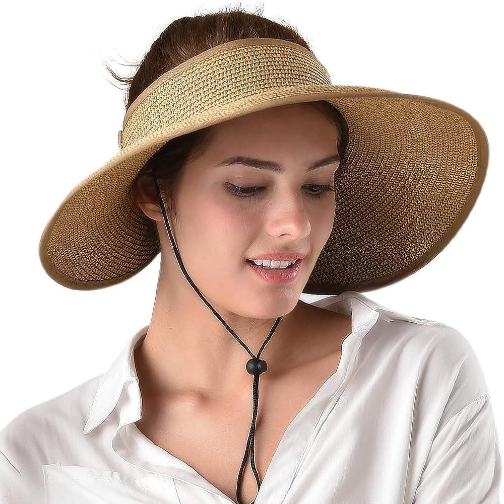 Womens Sun Visor Hat Wide Brim Packable Roll Up Summer Beach Straw Hat