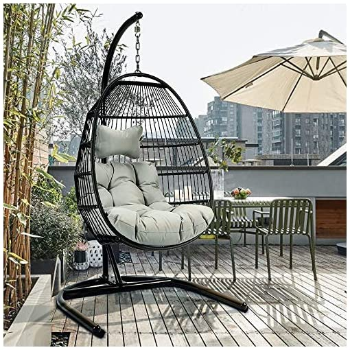 Mid Century Rattan Chair, Tome Foldable Swing Chair With Stand Rattan Wicker Hanging Egg Chair Hammock Chair With Cushion And Pillow For Indoor Outdoor Bedroom Patio Garden Light Beachfront Decor