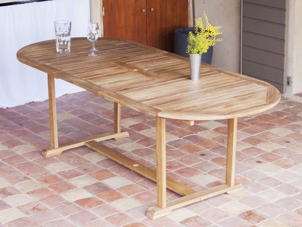 Delamaison Table de Jardin Ovale Extensible 180/237x100cm en Acacia ...