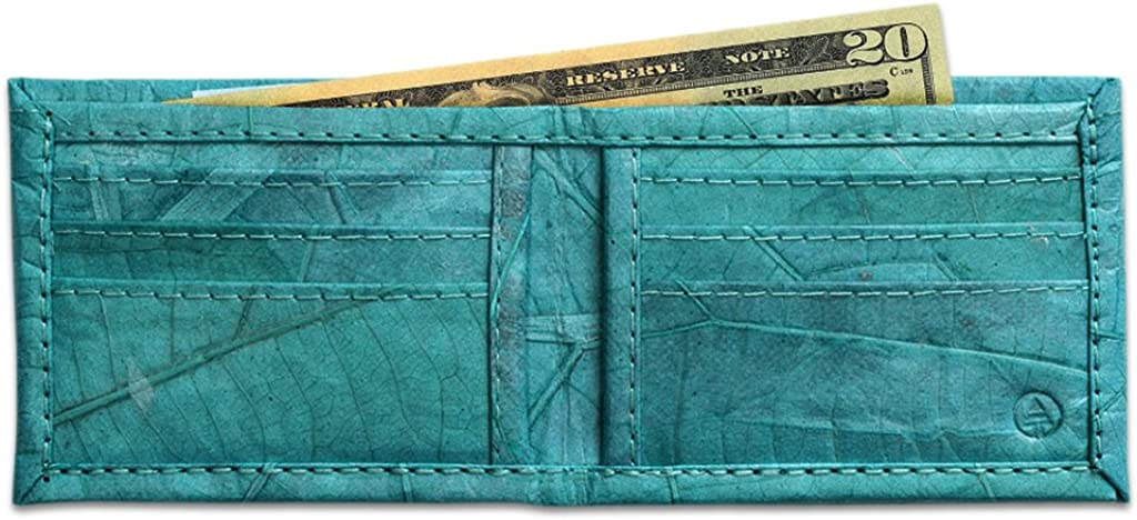 Leaf Leather Bifold Wallet - Mens/Unisex Flip Wallet, Handmade - Multiple Colors