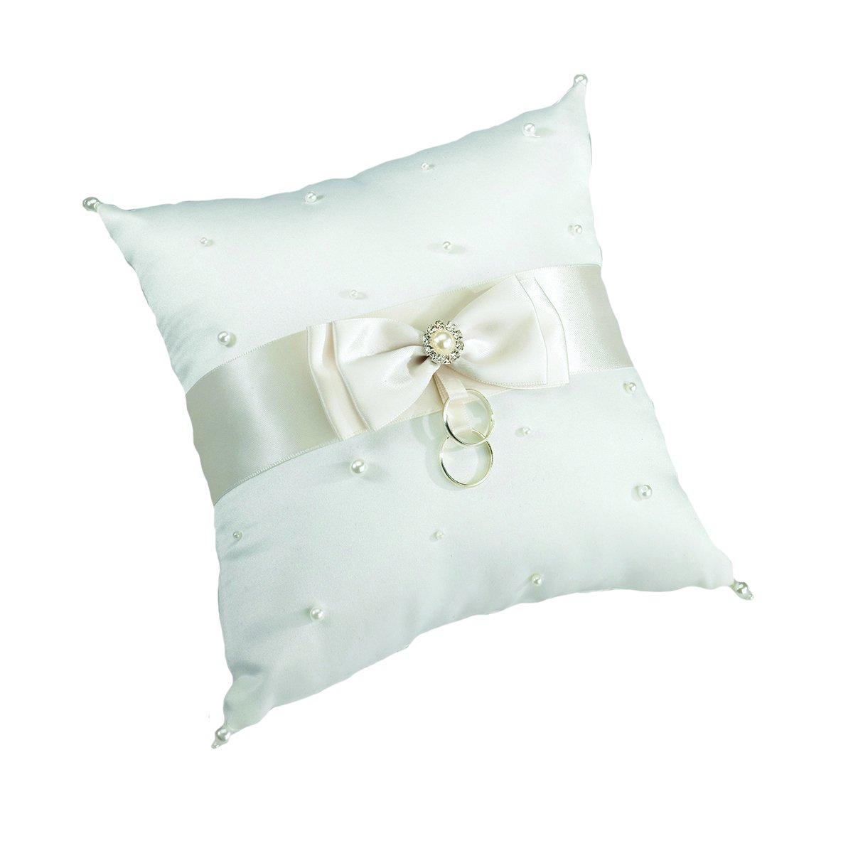 amazoncom lillian rose classic ivory satin pearl wedding ring pillow home kitchen - Wedding Ring Pillow
