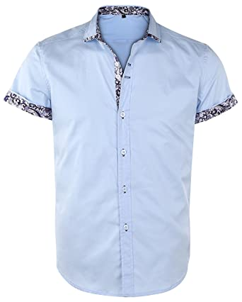 2cf134f03a1 JEETOO Men s Floral Shirts Short Sleeve Print Dress Shirt Button Down  Summer Casual Shirt - Blue - S  Amazon.co.uk  Clothing