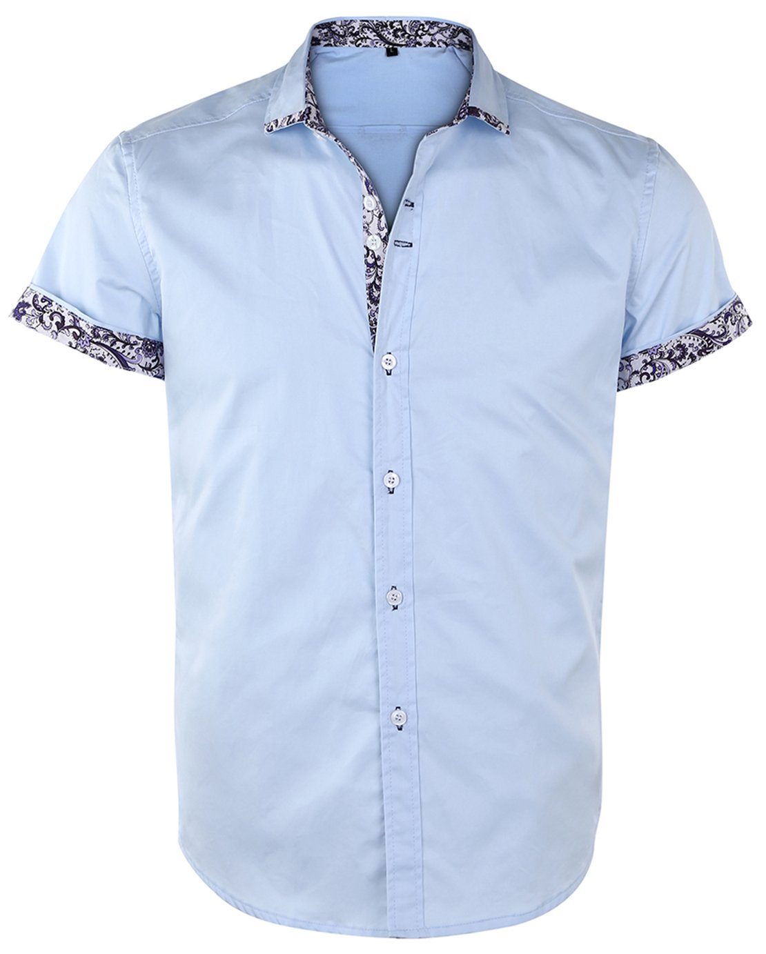 JEETOO Men's Floral Shirts Short Sleeve Print Dress Shirt Button Down Summer Casual Shirt (Small, SkyBlue)