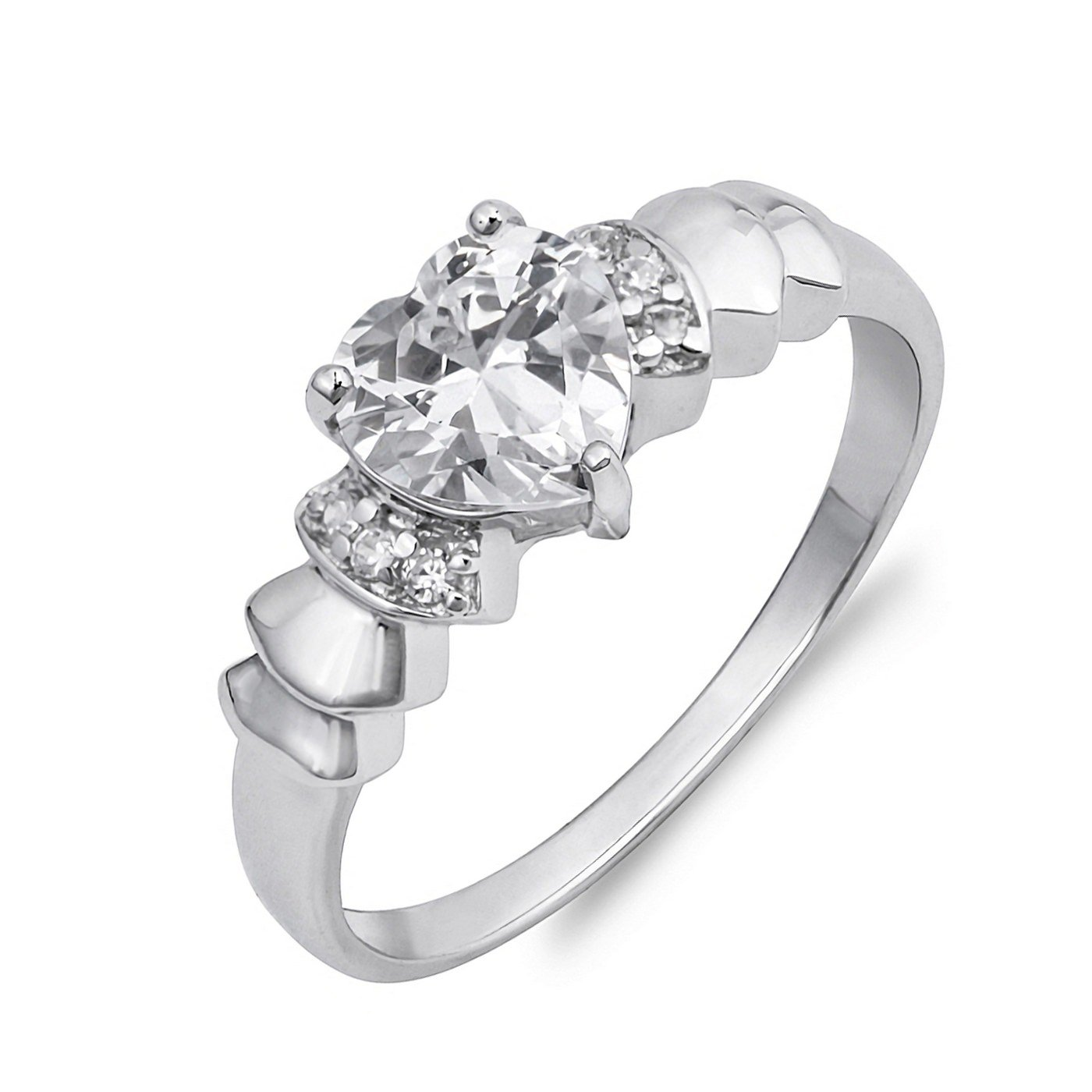 6mm Heart Cut Cubic Zirconia With Side CZ Womens Solid Sterling Silver Ring Sizes 4-10