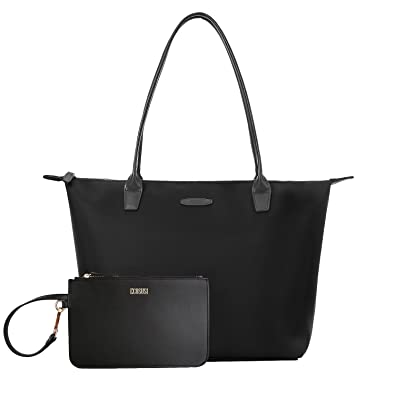 19942fcd7d0f ECOSUSI Anti-wrinkle Nylon Totes for Women Top Handbags with a Small Purse  can fit A4 Folder