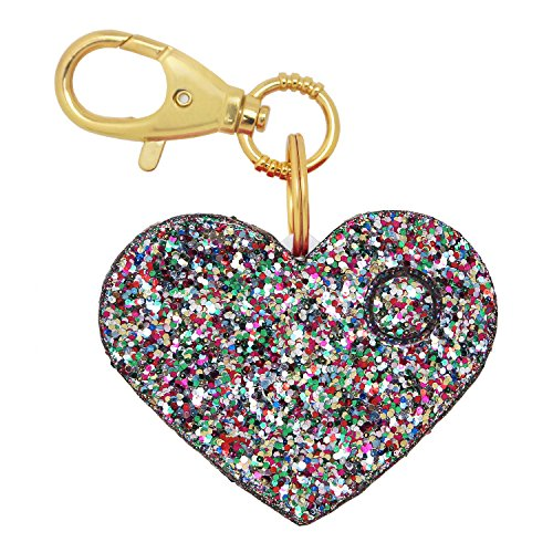 Personal Safety Alarm for Women - Ahh!-larm! Emergency Self-Defense Security Alarm Keychain with LED Light, Purse Charm, Confetti Glitter Heart (Personal Safety Weapons)