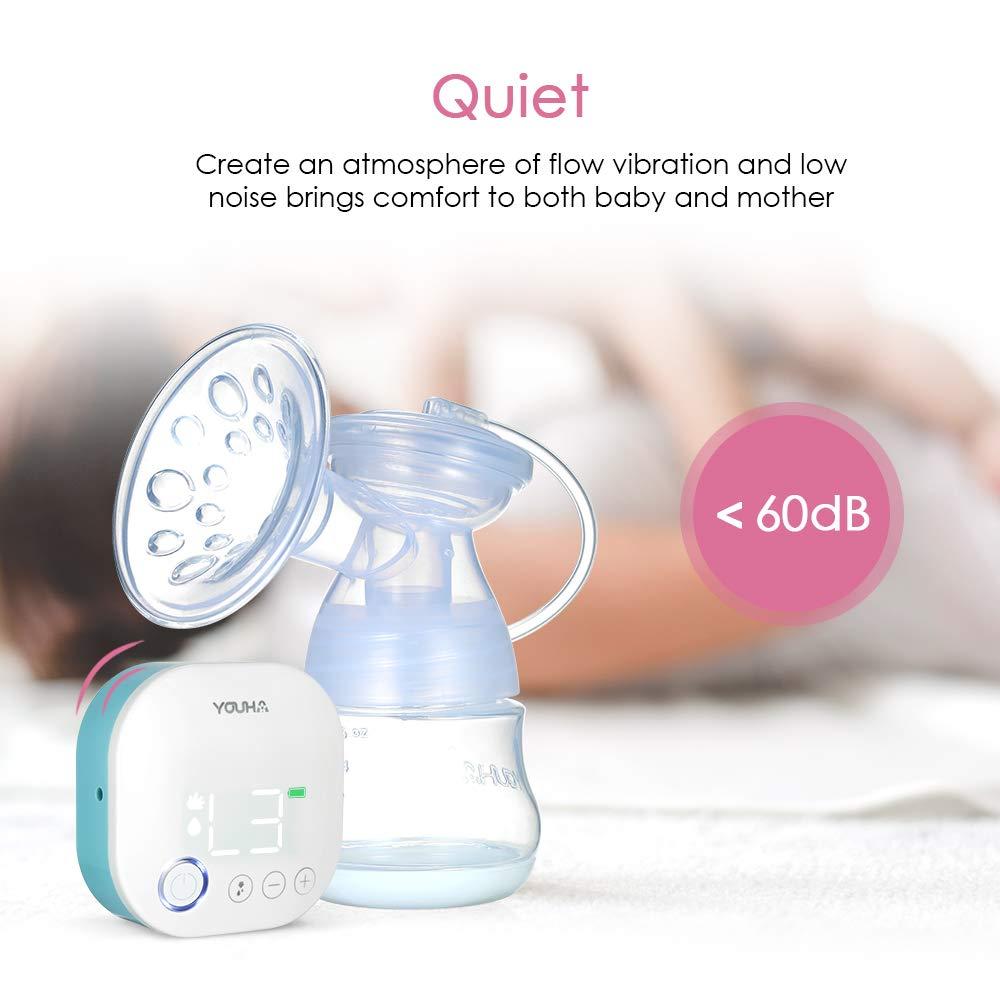 homese YOUHA Tragbare einzelne elektrische Milchpumpe Speicherfunktion Massage /& Ausdruck /& Gemischt 3 Modi 9 Stufen Jeder Modus Wiederaufladbare und leise Stillpumpe BPA-frei