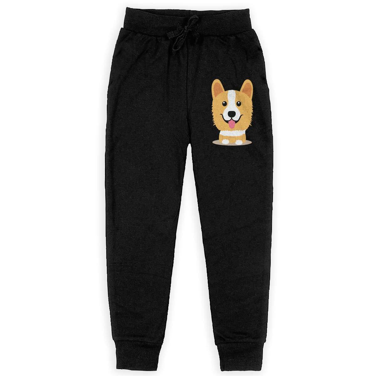 Funny Corgi Logo Boys Sweatpants,Joggers Sport Training Pants Trousers Black