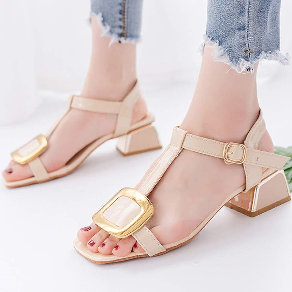 Hemlock Women Fashion Square Heel Sandals Open Toe Shoes Chunky Heel Sandals Buckle Sandals Summer Dress Shoes