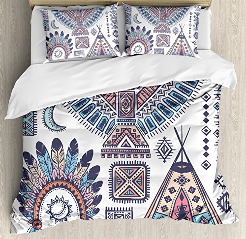 Ambesonne Tribal Duvet Cover Set Queen Size, Ethnic Teepee Tents Eagle Symbol Moon Sun and Feather Chief Hat Print, Decorative 3 Piece Bedding Set with 2 Pillow Shams, Coral Blue ()