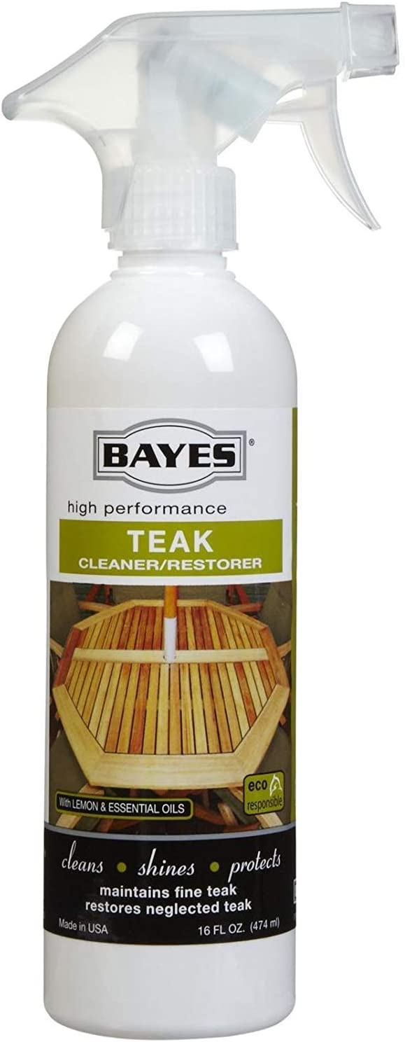 Bayes High Performance Teak Cleaner & Restorer - Cleans, Shines, and Protects - Maintains Fine Teak and Restores Neglected Teak - 16 oz